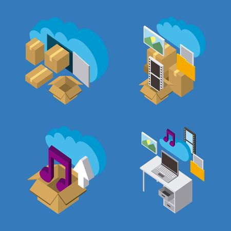 collection of work process cloud computing storage data isometric 矢量图像