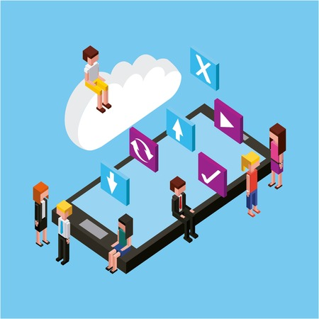 people sit on smartphone cloud computing storage isometric
