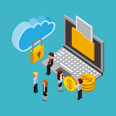 people laptop money document security cloud computing storage isometric