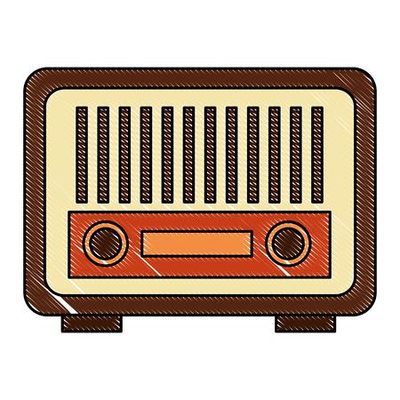 vintage antique radio on white background vector illustration Illustration