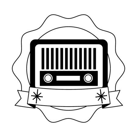 retro radio device communication vintage emblem vector illustration Çizim