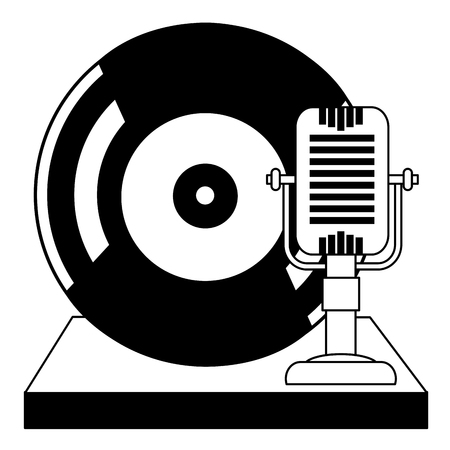 vintage microphone and vinyl record music classic vector illustration Ilustração