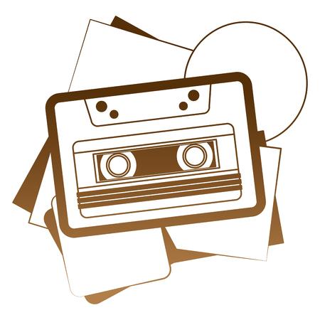 retro cassette recorder tape music vintage classic vector illustration