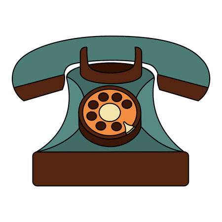 vintage telephone device communication retro vector illustration