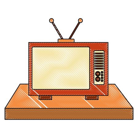vintage television device retro old vector illustration