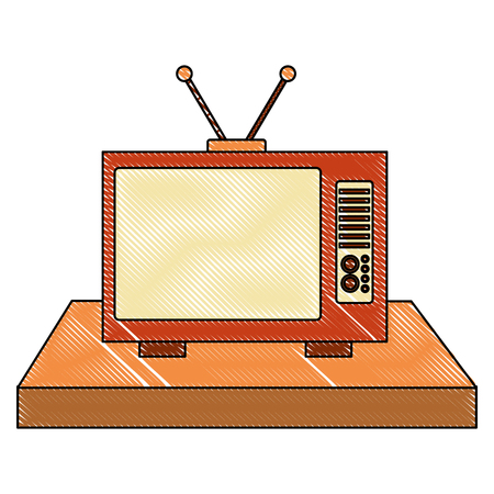 vintage television device retro old vector illustration