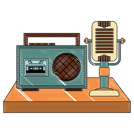 radio cassette and microphone audio music vintage vector illustration