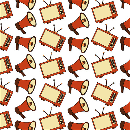 vintage television and megaphone retro style pattern vector illustration Ilustrace