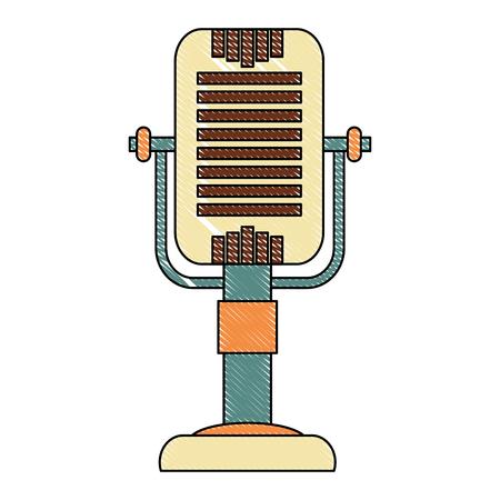 vintage retro microphone classic equipment vector illustration