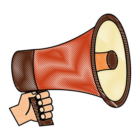 hands holding retro megaphone vintage vector illustration Illustration