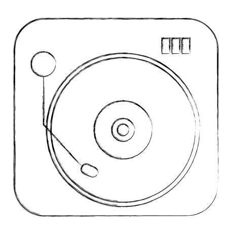 turntable vinyl record music audio vintage retro vector illustration
