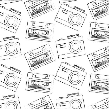 retro vintage camera and cassette audio background vector illustration