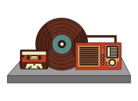 retro vintage vinyl record radio and cassette vector illustration