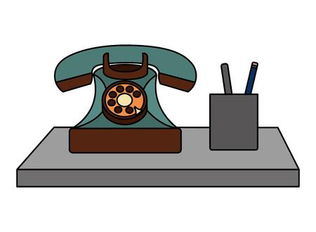Teléfono retro vintage y lápices en la ilustración de vector de caso Foto de archivo - 102100282