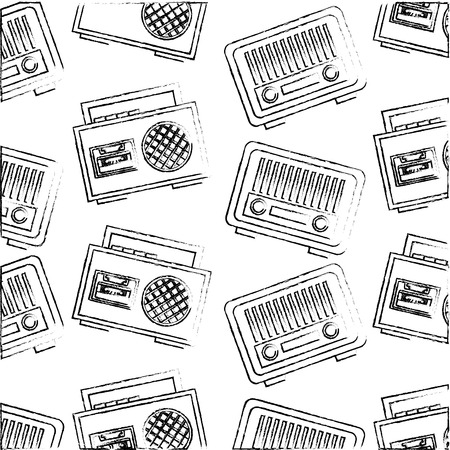 vintage radio and boombox stereo cassette retro classic pattern vector illustration Illustration
