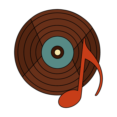 retro vintage vinyl note musical song vector illustration Çizim