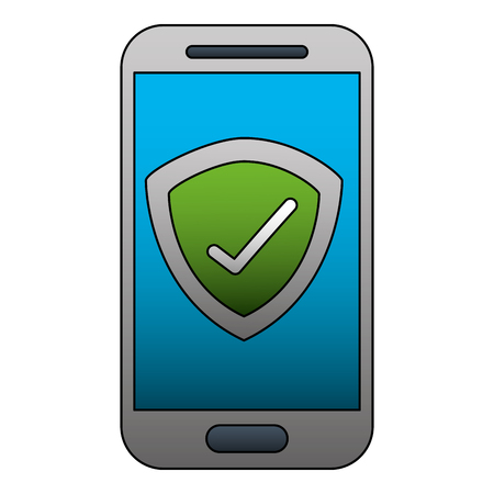 smartphone checkmark secuirty technology cartoon vector illustration Banque d'images - 102099384