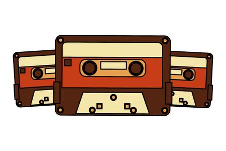 retro vintage cassette tape record music vector illustration