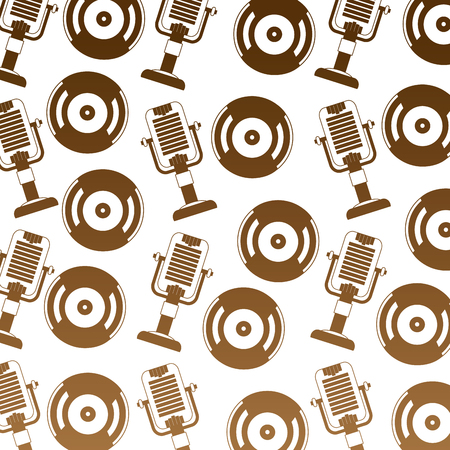 vintage old vinyl record microphone retro pattern vector illustration