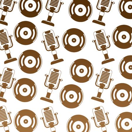 vintage old vinyl record microphone retro pattern vector illustration