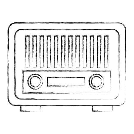 vintage antique radio on white background vector illustration  イラスト・ベクター素材