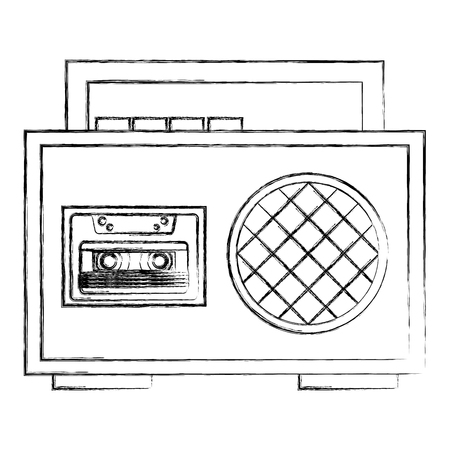 boombox radio cassette audio music vintage vector illustration