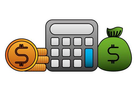 financial calculator bag money coins vector illustration