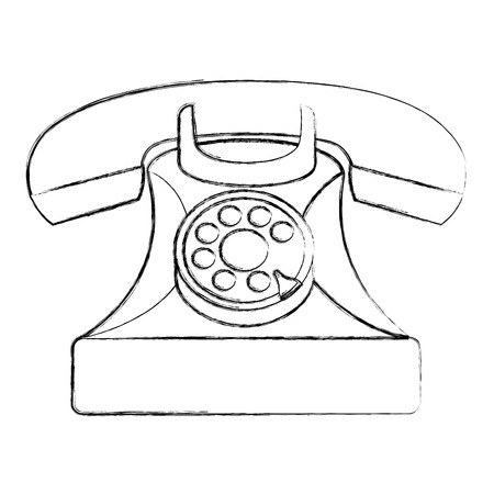 vintage telephone device communication retro vector illustration sketch