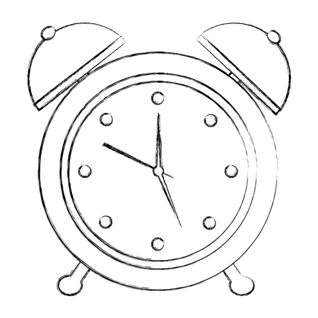alarm clock retro vintage image vector illustration sketch