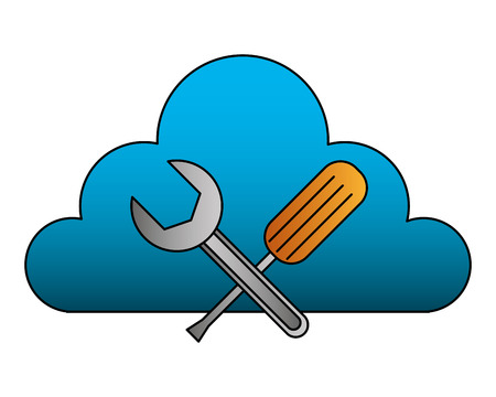 cloud computing support repair tools vector illustration