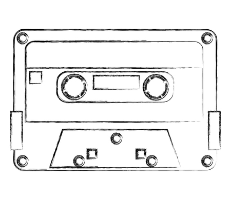 retro vintage cassette tape record music vector illustration sketch