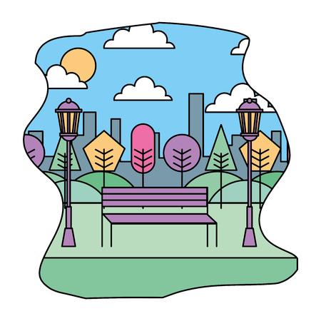 landscape park bench tree and lamp city vector illustration Illustration
