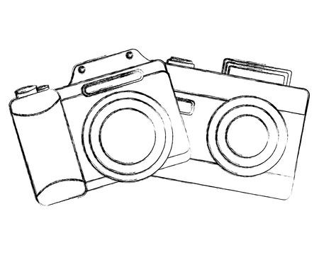 vintage photography camera retro device vector illustration sketch