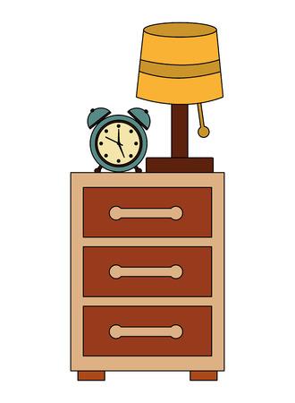 bedside table lamp clock alarm image vector illustration Ilustração