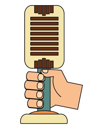 hand holding retro vintage microphone vector illustration Illustration