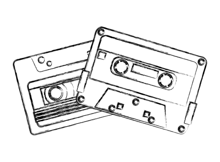 retro vintage cassette tape record music vector illustration sketch