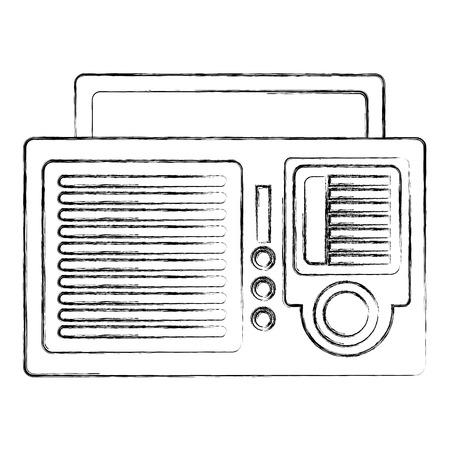 retro vintage radio sound voice image vector illustration sketch Çizim