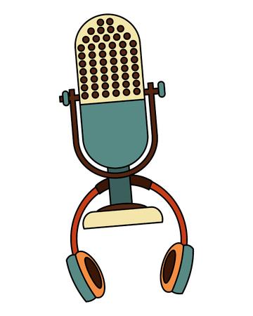 retro vintage microphone headphones equipment vector illustration