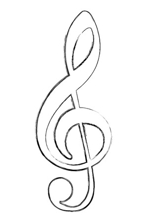 music note melody song image vector illustration sketch  イラスト・ベクター素材