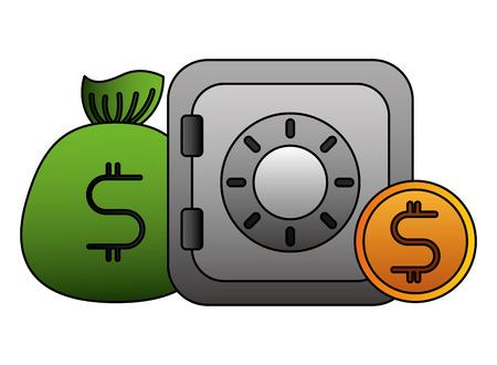 business safe box money dollar vector illustration