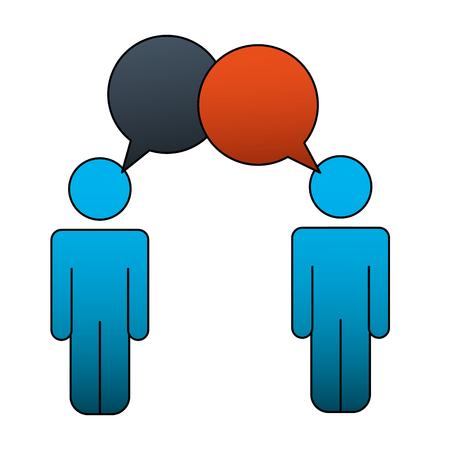 people talking communication speech bubble pictogram vector illustration