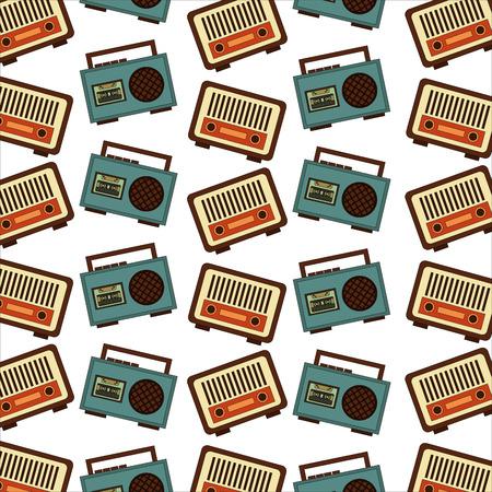 vintage radio and boombox stereo cassette retro classic pattern vector illustration 일러스트