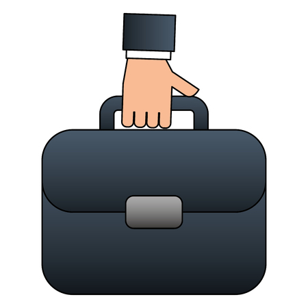 hand holding business briefcase accessory vector illustration