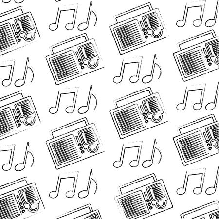 retro vintage radio stereo note music pattern vector illustration sketch Ilustração