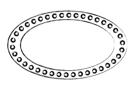 vintage billboard with lights oval shape vector illustration sketch