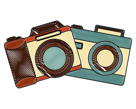 retro cameras photographic icon vector illustration design