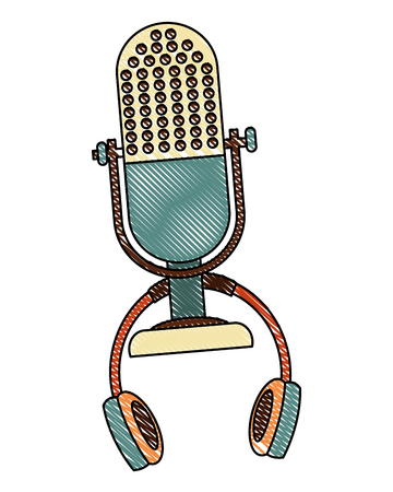 microphone and headset music retro style vector illustration design Illustration