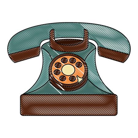 Estilo de ilustración de vector de diseño vintage teléfono retro Foto de archivo - 102099475