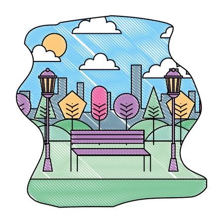 park landscape scene icon vector illustration design