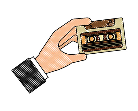 hand with cassette music retro style vector illustration design Illustration